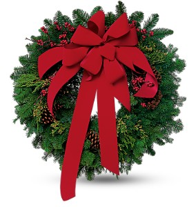 Wreath with Red Velvet Bow in Kent OH, Richards Flower Shop