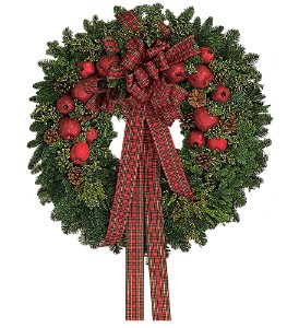 Fresh Wreath with Apples in Kent OH, Richards Flower Shop
