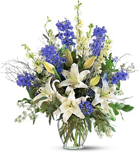Sapphire Miracle Arrangement in Bloomington IL, Forget Me Not Flowers
