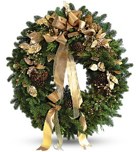 Golden Evergreen Wreath in El Cajon CA, Jasmine Creek Florist