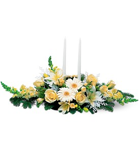 Two White Taper Centerpiece in Georgetown ON, Vanderburgh Flowers, Ltd