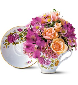 Pink Roses Teacup Bouquet in Spring Lake NC, Skyland Florist & Gifts
