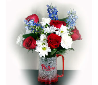 Philadelphia Phillies Freezer Mug Bouquet in Norristown PA, Plaza Flowers