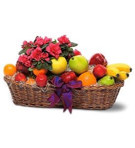 Plant and Fruit Basket in Highland IL, Widmer Floral