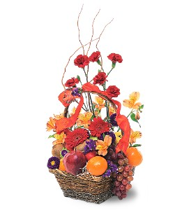 Fruits and Flowers Basket in Patchogue NY, Mayer's Flower Cottage