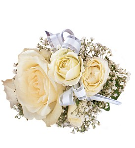 White Ice Roses Wristlet in Big Rapids, Cadillac, Reed City and Canadian Lakes MI, Patterson's Flowers, Inc.