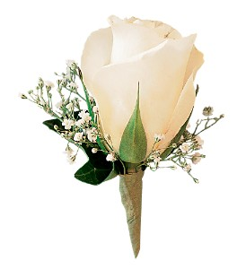 White Ice Rose Boutonniere in Toledo OH, Myrtle Flowers & Gifts