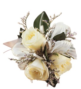 3 White Mini Roses Wristlet in Winnipeg MB, Cosmopolitan Florists