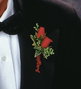 Red-Hot Roses Boutonniere in Big Rapids, Cadillac, Reed City and Canadian Lakes MI, Patterson's Flowers, Inc.