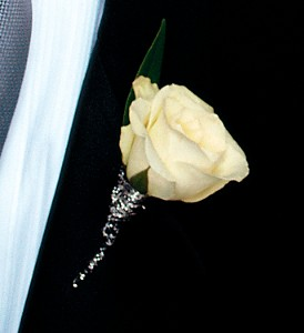 White Rose Boutonniere in San Antonio TX, Pretty Petals Floral Boutique