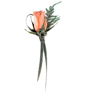 Peach Promise Boutonniere in Big Rapids, Cadillac, Reed City and Canadian Lakes MI, Patterson's Flowers, Inc.