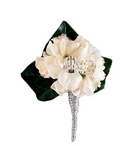 White Stock Boutonniere in San Antonio TX, Pretty Petals Floral Boutique