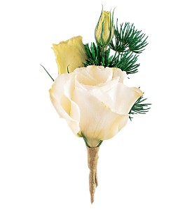 White Lisianthus Boutonniere in Towson MD, Radebaugh Florist and Greenhouses