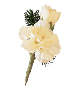 Miniature White Carnation Boutonniere in Winnipeg MB, Cosmopolitan Florists