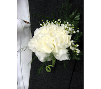 GLE WHITE CARNATION BOUTONNIEREPLease call for pricing in New Paltz NY, The Colonial Flower Shop