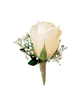 White Rose and Baby's Breath Boutonniere in Placentia CA, Expressions Florist