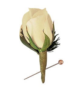 Miniature White Rose Boutonniere in San Antonio TX, Pretty Petals Floral Boutique