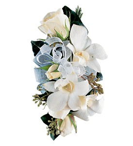 White Rose and Orchid Corsage in Dover OH, Baker Florist, LLC