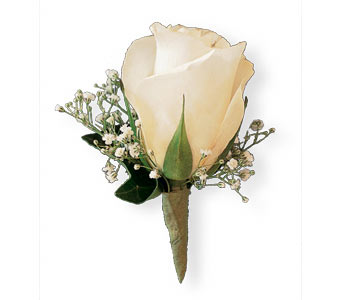 White Rose and Baby's Breath Boutonniere in Coplay PA, The Garden of Eden