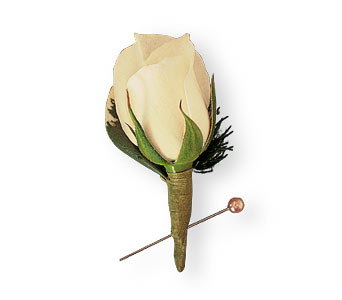 Miniature White Rose Boutonniere in Coplay PA, The Garden of Eden