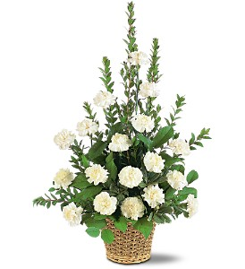 White Simplicity Basket in Randallstown MD, Raimondi's Funeral Flowers