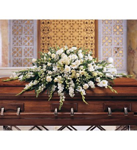 Deluxe Pure White Casket Spray in Naples FL, Gene's 5th Ave Florist