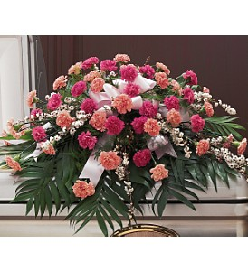 Delicate Pink Casket Spray in Huntington WV, Archer's Flowers, Inc.