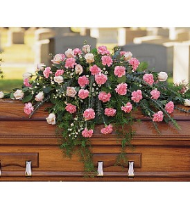 Heavenly Pink Casket Spray in Port St Lucie FL, Flowers By Susan