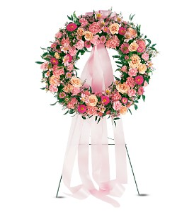 Respectful Pink Wreath in Bakersfield CA, White Oaks Florist