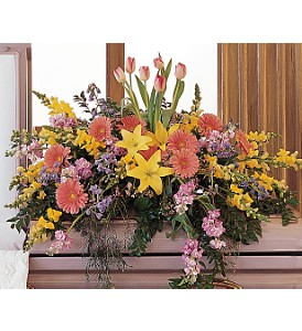 Blooming Glory Casket Spray in Evansville IN, Cottage Florist & Gifts