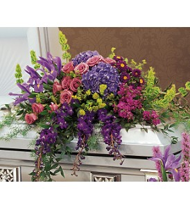 Graceful Tribute Casket Spray in Oklahoma City OK, Array of Flowers & Gifts
