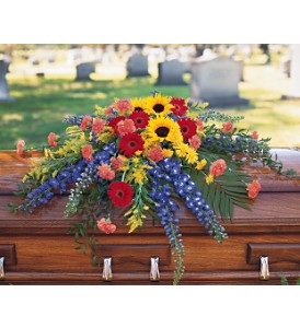 Vibrant Summer Casket Spray in Oklahoma City OK, Array of Flowers & Gifts