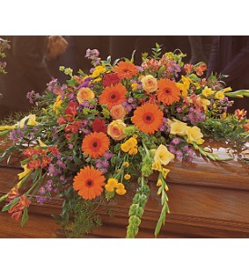 Summer Sentiments Casket Spray in Eugene OR, Rhythm & Blooms