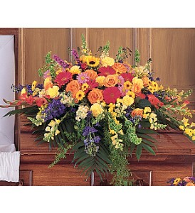 Celebration of Life Casket Spray in Boston MA, Exotic Flowers