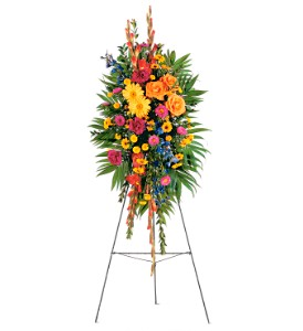 Celebration of Life Standing Spray in Oklahoma City OK, Array of Flowers & Gifts