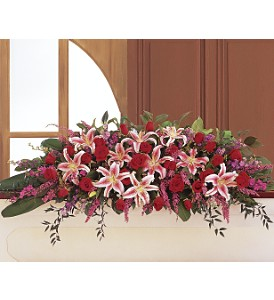 Amethyst and Ruby Casket Spray in Eugene OR, Rhythm & Blooms