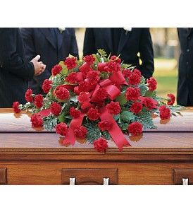 Red Regards Casket Spray in Canada AB, Anicca Flowers