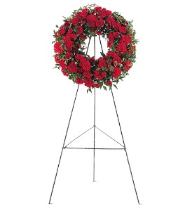 Red Regards Wreath in Bloomington IL, Forget Me Not Flowers