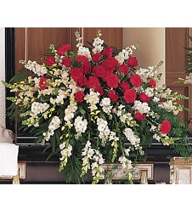 Cherished Moments Casket Spray in Boston MA, Exotic Flowers