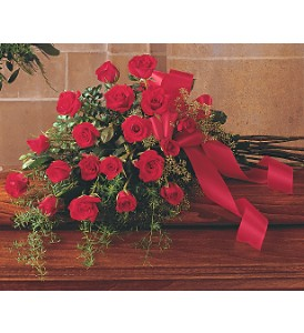 Red Rose Tribute Casket Spray in Oklahoma City OK, Array of Flowers & Gifts