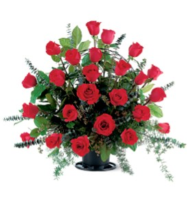 Blooming Red Roses Basket in Moline IL, K'nees Florists