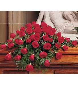 Blooming Red Roses Casket Spray in Raleigh NC, Bedford Blooms & Gifts