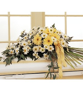 Drop of Sunshine Casket Spray in Raleigh NC, Bedford Blooms & Gifts
