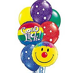 Good Luck Smiles Theme Balloon Bouquet in Lawrence KS, Englewood Florist