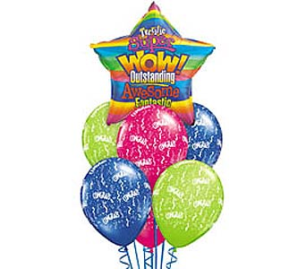 WOW! Congratulations Theme Balloon Bouquet in Lawrence KS, Englewood Florist