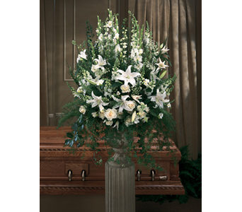LARGE ALL WHITE URN  in Royal Oak MI, Irish Rose