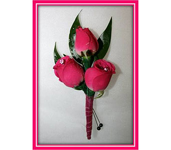 Hot Pink Spray Rose Boutonniere in Hudson NH, Anne's Florals & Gifts