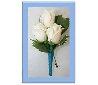 White Spray Rose with Blue Tulle Boutonniere in Hudson NH, Anne's Florals & Gifts