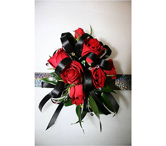 Red Spray Rose with Gems Wristlet Corsage in Hudson NH, Anne's Florals & Gifts