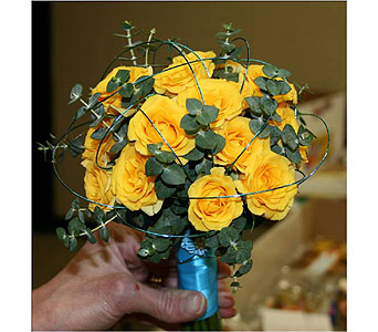 Yellow Spray Roses with Eucalyptus Hand-Tied Bouquet in Hudson NH, Anne's Florals & Gifts